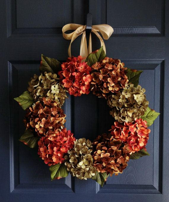 Autumn Hydrangea Wreath | Fall Wreaths | Wreath | Fall Wreath | Front Door Wreaths | Fall Porch Decor