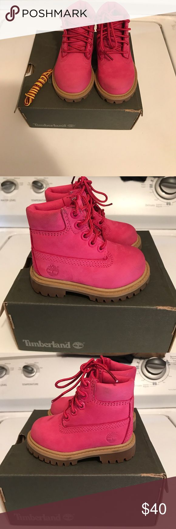 Pink Toddlers Timberland boots EUC toddlers timberland boots. Only worn a handful of times and very well kept. Comes with pink and original timberland laces and box. Timberland Shoes Boots