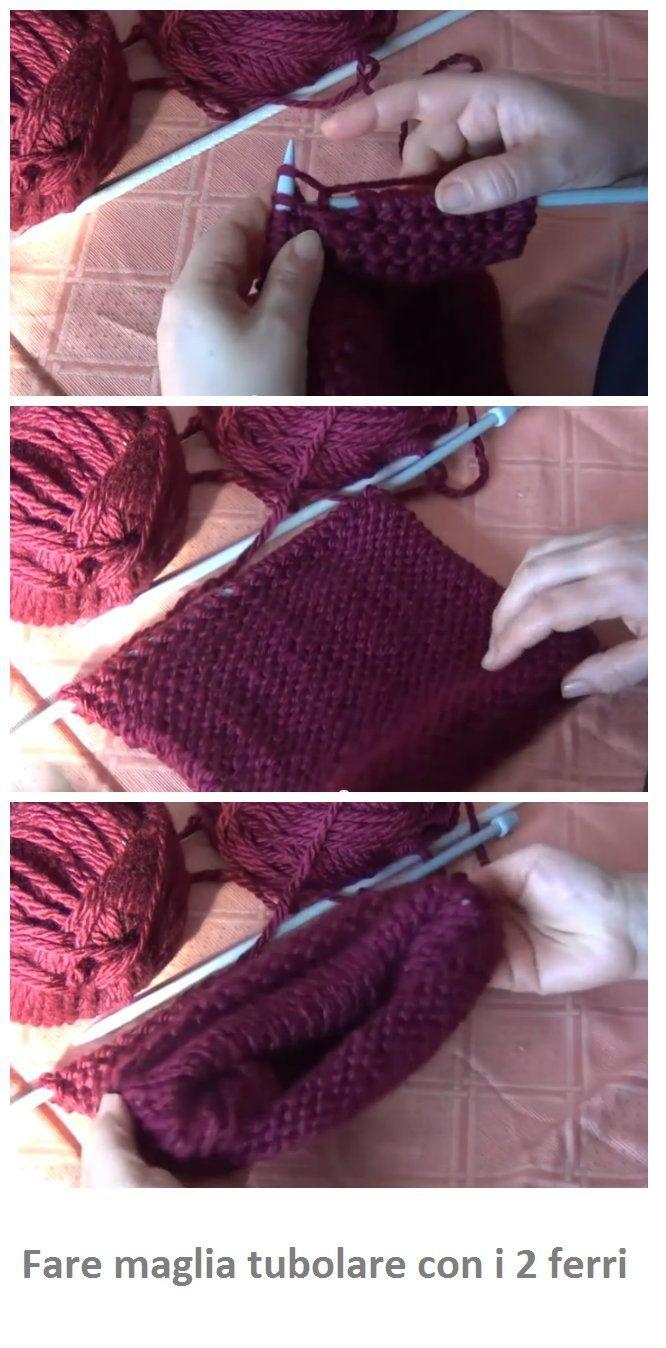 Come fare maglia tubolare con i 2 ferri. Senza ferro circolare o gioco di ferri.
