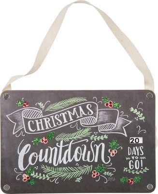"""9"""" Sign Primitives by Kathy Merry Christmas Countdown Chalk Sign Advent Calendar"""