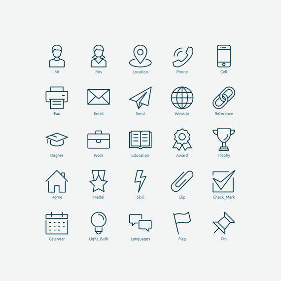 Resume Icons In Vector And Png Desain Cv Desain Pamflet Cv Kreatif