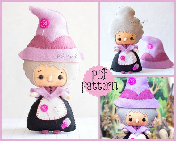 This PDF hand sewing pattern will give you instructions and patterns to make the doll pictured: The witch from Hansel and Gretel Size: Witch with hat 9 approximately THIS IS NOT A FINISHED DOLL. Language: English THIS PDF e-Pattern includes: . Step by step photo tutorial. . A