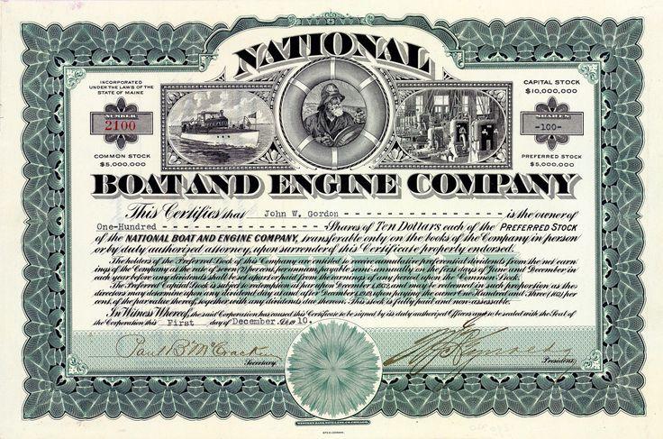 National Boat and Engine Co., Maine, Aktie von 1910 + HOCHDEKORATIV + SELTENST!