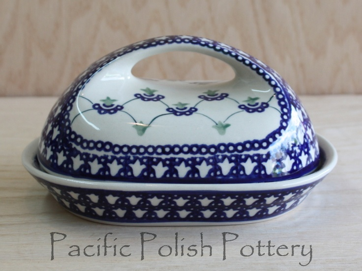 Blue And White ♥ ~ ♥ Polish Pottery Butter Dish