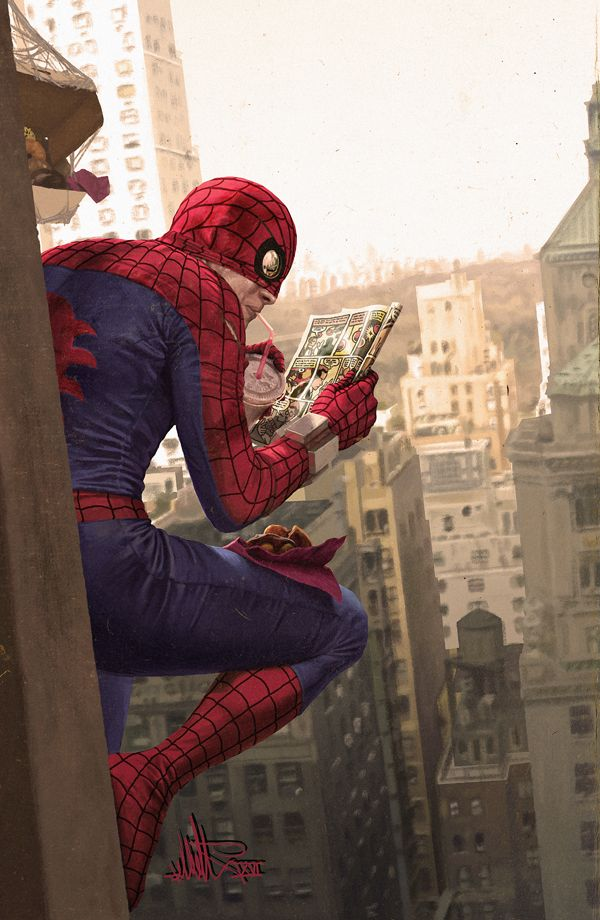 Spider-Man en su break de almuerzo