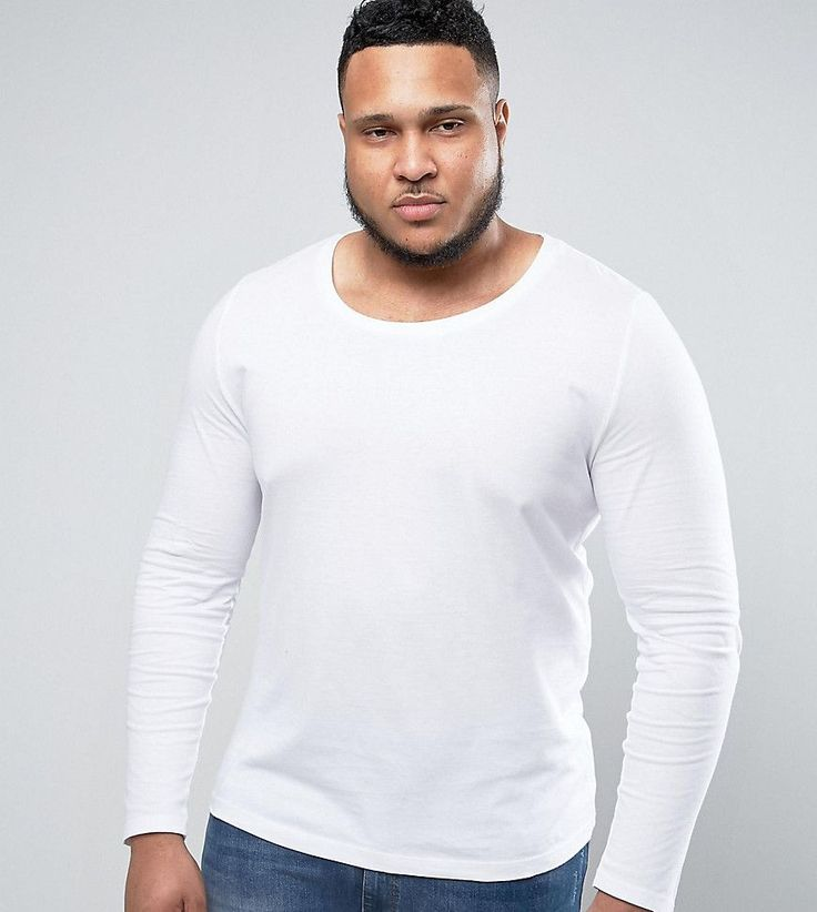 ASOS PLUS Long Sleeve T-Shirt With Scoop Neck In White - White