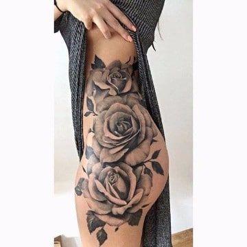 diseños de rosas para tatuar en la pierna