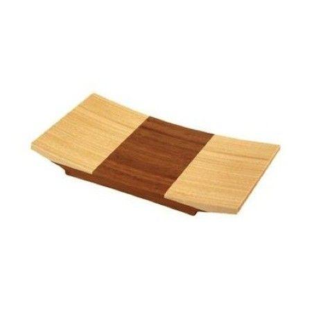 Deze #bamboe #Sushi #schaal wordt met de hand van platte stroken bamboe gemaakt