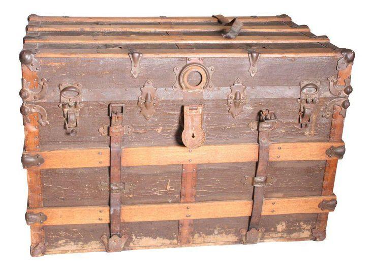 Vintage Victorian Rustic Brown Wood Steamer Trunk on Chairish.com