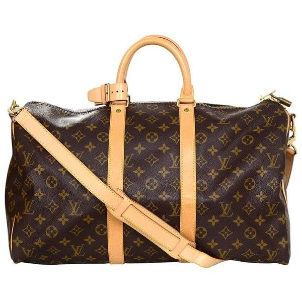 Preowned Louis Vuitton Monogram Keepall 45 Duffle Weekender Bag ($1,400) ❤ liked on Polyvore featuring bags, luggage, black and duffel bags