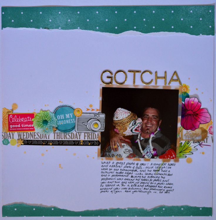 Scrapbook - One of my faves to date:  Layout using lots of embellishment stickers, little washi tape, diy gold polka dot vellum, enamel dots & paint splats