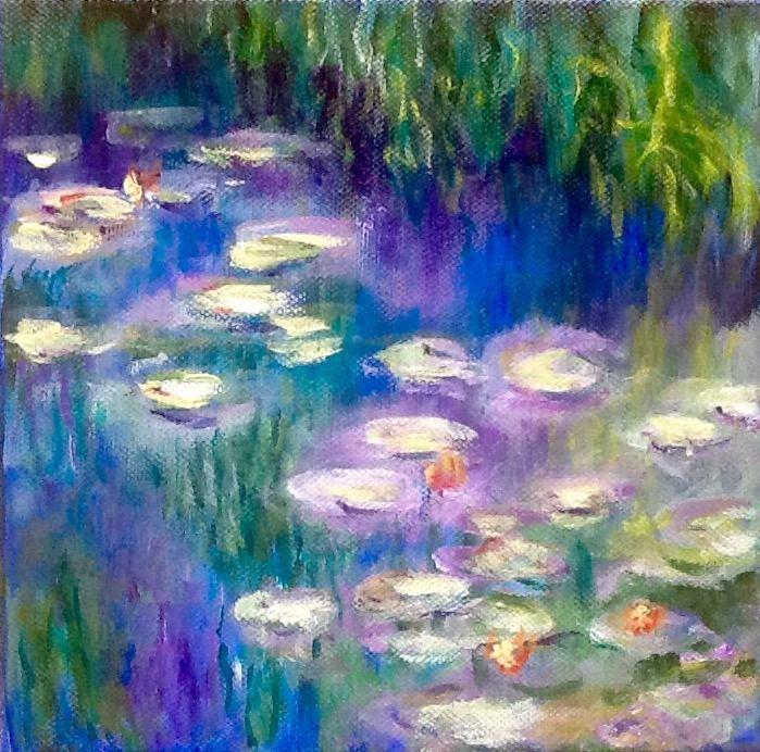 Nénuphars 2 d après Les nymphéas de Claude Monet acrylique ...