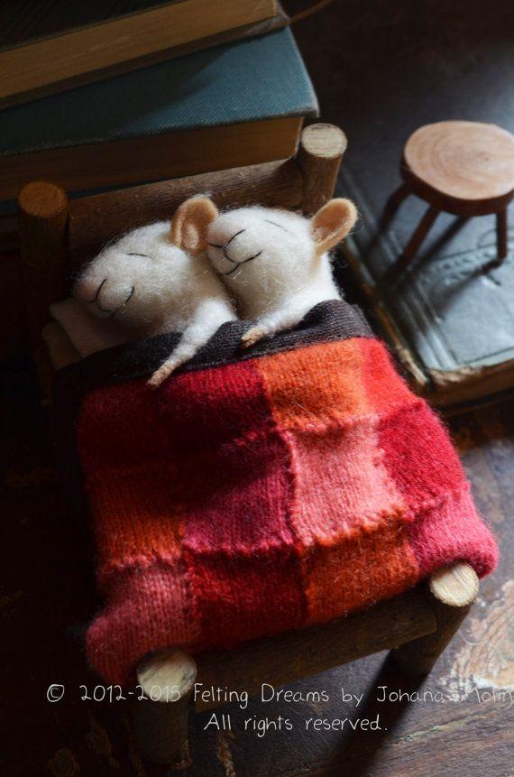 Ratones dormir acolchar feltingdreams únicas porciones de fieltro de aguja