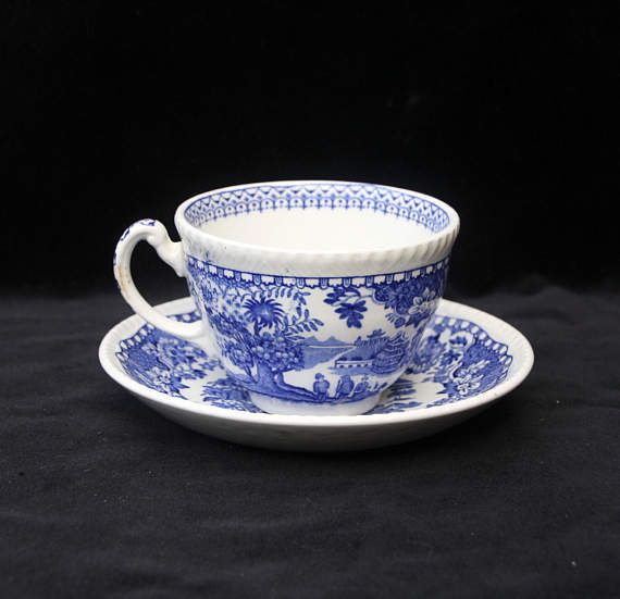 Woods Seaforth Blue and White Tea Cup and Saucer (Excellent)