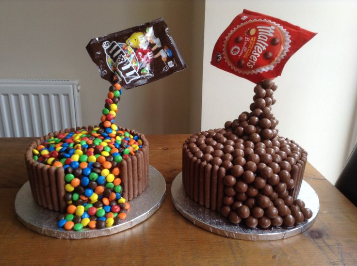 Anti gravity cakes, using chocolate fingers and either m & m's or malteesers