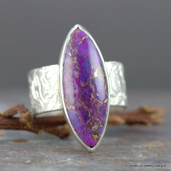 Kingman Purple Turquoise Ring - Marquis Stone Ring - Sterling Purple Stone Rng on Etsy, $89.00