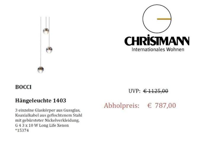 Angeboten wird hier eine Hängeleuchte der Firma Bocci Modell 1403,3 einzelne Glaskörper aus Gussglas,Koaxialkabel aus geflochtenem Stahl mit gebürsteter Nickelverkleidung,G 4 3 x 10 W Long Life Xenon*15374AusstellungsstückPreis inkl. MehrwertsteuerNur Abholung !