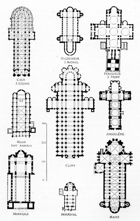 Plans of Romanesque Churches a lot of the shadows cast from the stone tools show these domes , many pyramids too