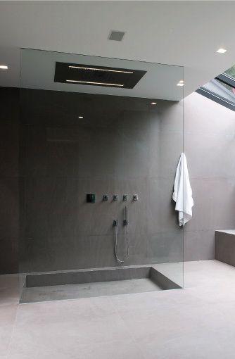 Minimalist shower. Glass shower. Clear.