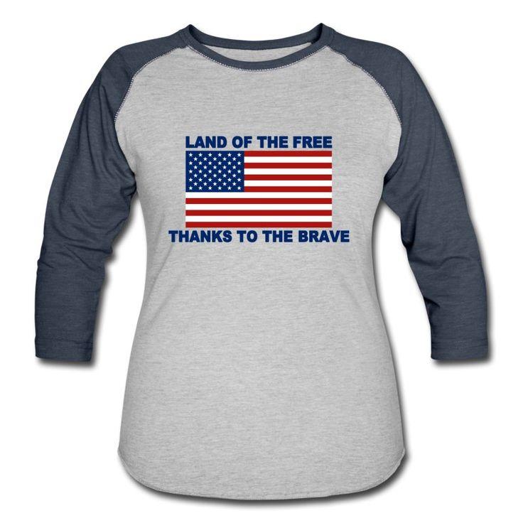U.S. Flag  - Land Of The Free - Thanks To The Brave Women's Heather Grey / Navy Baseball T-Shirt Women's ¾ Sleeve Baseball T-Shirt   Design Art Style Emporium