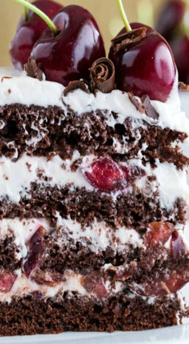 drunken cherry chocolate cake