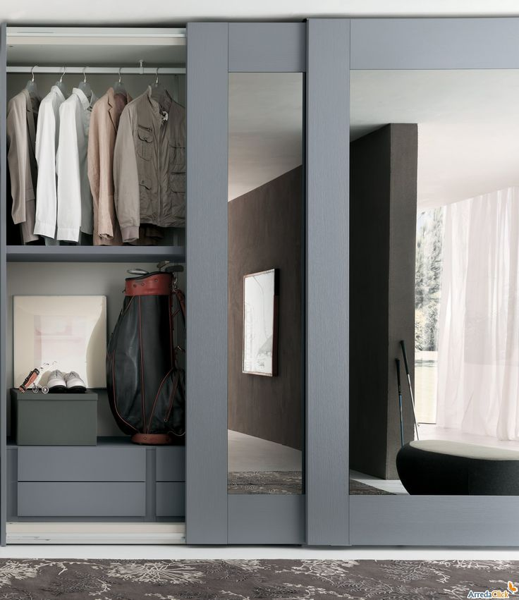 Sliding Closet Doors Ideas to Increase Room Functionality : Fabulous Sliding Closet Doors Idea Using Modern Design In Grey Color And Glass Material