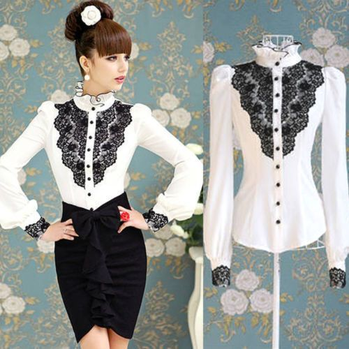 New-Womens-Lace-Front-Shirt-Stand-Collar-Retro-Tops-Long-Sleeve-Victorian-Blouse.jpg_640x640.jpg (500×500)