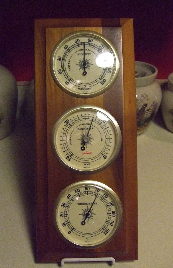 Vintage Sunbeam Weather Station Humidity Barometer Temperature Gauges Indicators Hardwood Panel Hang Vertically Or Horizontally Made In Usa 2018 My