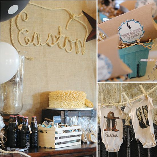 A Western-Themed Baby Shower: This Western-themed, turquoise-and-black-toned shower is stuffed full of thoughtful details — from a cowboy diaper cake and braided rope sign (we're loving this trend!) to tons of sweets and amazing signage.  Source: Whimsical Printables