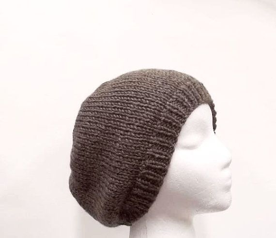 Knitted beanie hat taupe brown men or women 5034 by CaboDesigns  (Accessories fcbcd54c9d86