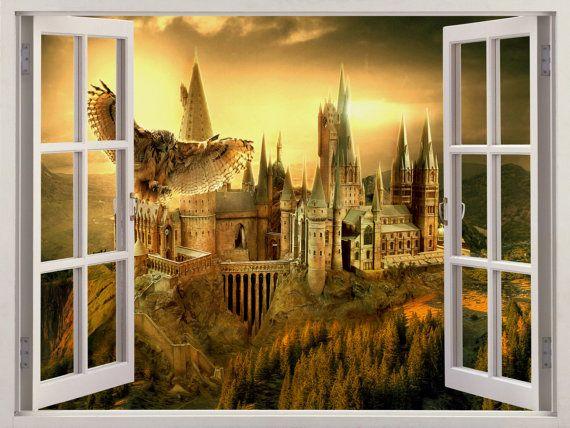 3D-venster Hogwarts Harry Potter muur sticker door WindowGallery2016