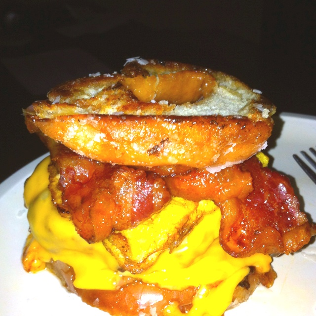 Bacon cheeseburger with egg on top of a Krispy Kreme donut....was good to me!