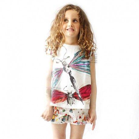 Camiseta niña, Desigual libélula con lentejuelas