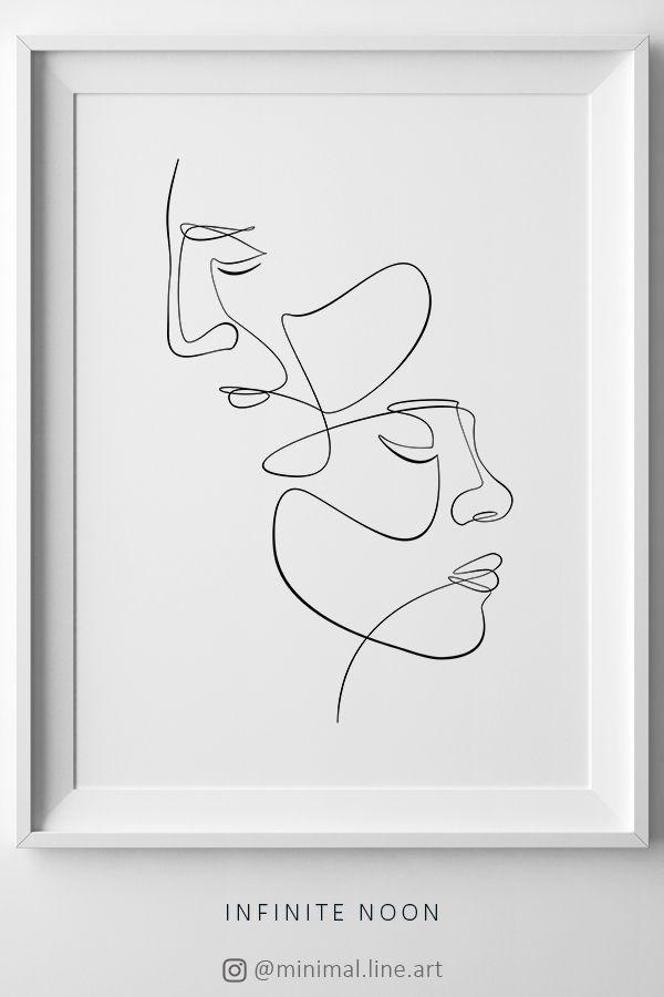 Face Couple Line Art Printable, One Line Drawing, Abstract Sketch Face Figure, Minimal Single Line Wall Art, Minimalist Print, Modern Decor – Alexander Baehr