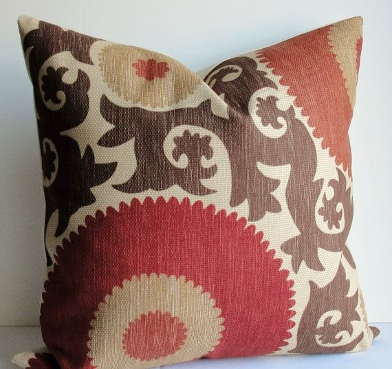 Designer Fahri Suzani Brown Rust Red Tan Decorative Pillow