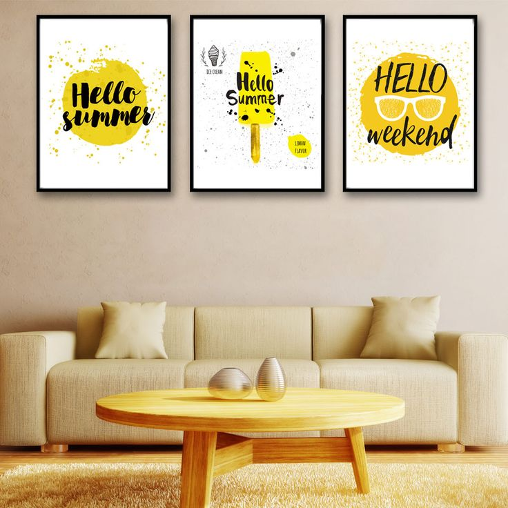 Cheap prints painting, Buy Quality decorative pictures directly from China art canvas Suppliers: Cartoon Summer Ice Cream Yellow Art Canvas Poster Print Painting Minimalist Modern Home Decor Picture No Frame Free Shipping
