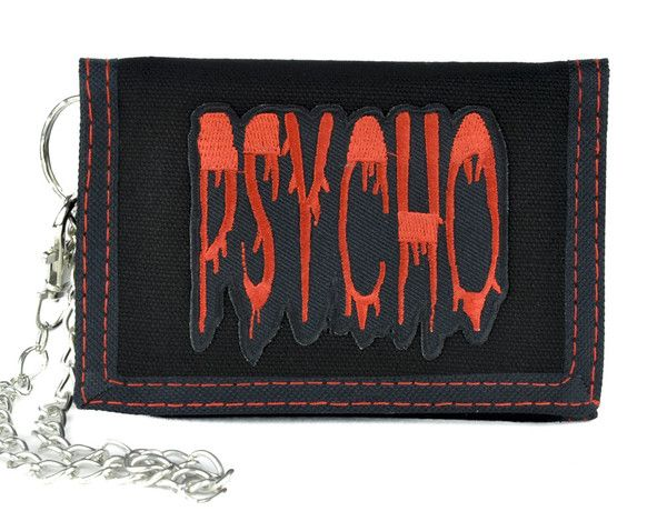 """PsychoTri-Fold Wallet Black Nylon Tri-Fold Wallet with Red Trim Stitching Comes With Chain (Removable) 3 1/4"""" Inches Wide, 5 1/4"""" Inches Long (Closed) Strong a"""