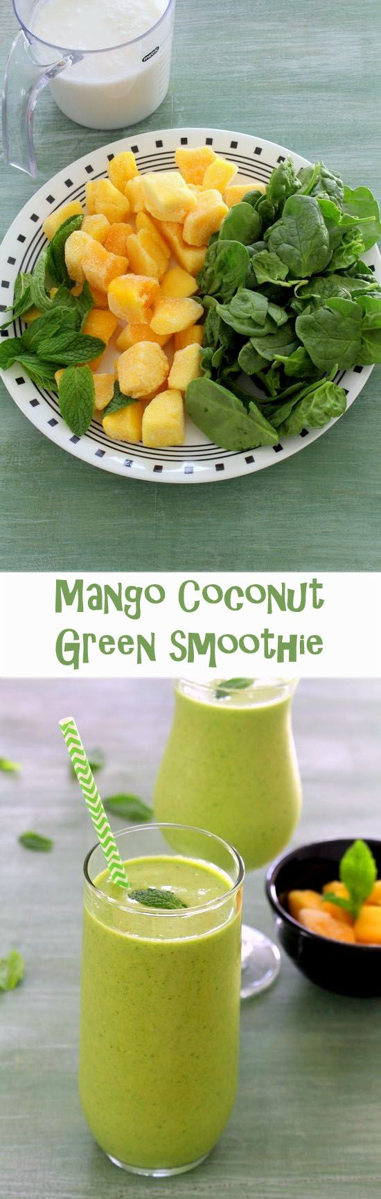 Mango green smoothie recipe - 4 ingredients healthy smoothie with tropical flavors.