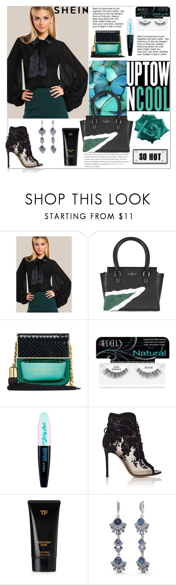 """""""Shein.Tie Neck Bishop Sleeve Blouse"""" by natalyapril1976 ❤ liked on Polyvore featuring Marc Jacobs, Ardell, L'Oréal Paris, Gianvito Rossi, Tom Ford and Givenchy"""