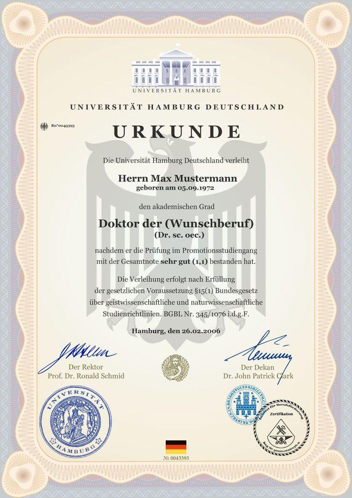 Doktortitel Kaufen Dr Professor Diplom Urkunde Doktor