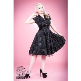Robe Pin-Up Rétro 50's Rockabilly Pois Noir