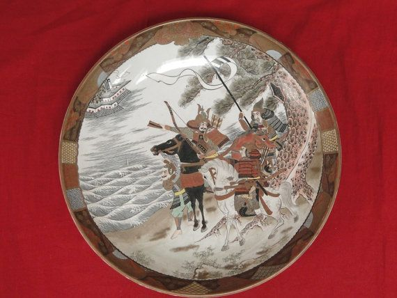 Antique Japanese Kutani Meiji Large Plate for sale by OrangePawnShop on etsy #Antique #Japanese #Kutani #Meiji  #Charger #plate   #etsy