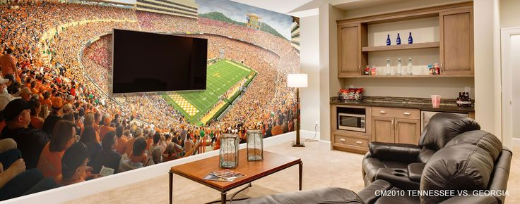 sports wallpaper mural Bars for home, Man cave home bar