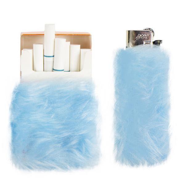 Lighter & Cigarette Fur Case Set