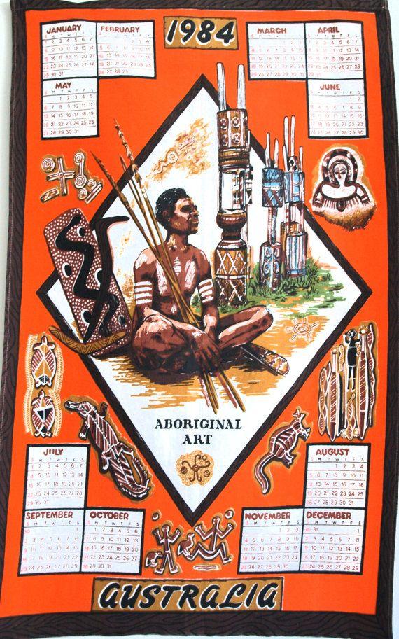 Retro Vintage Australia Calendar 1984 Map Kitsch by FunkyKoala