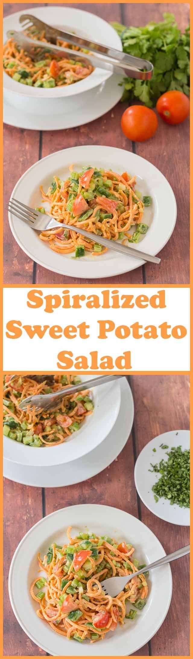 Spiralized sweet potato salad is a simple dish made with a healthier dressing compared to other salad dressing options. It's easy to make, a great way to use up leftovers and can be served as a main course or as a side! via @neilhealthymeal