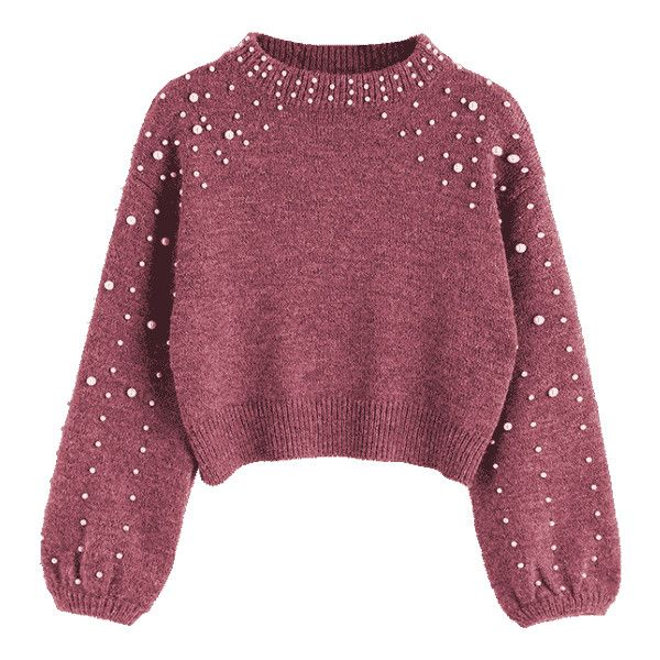 Faux Pearl Mock Neck Sweater Russet-red S (197230 PYG) ❤ liked on Polyvore featuring tops and sweaters