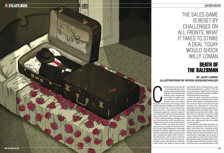 """Silver winner in #Illustrations. """"Death of The Salesman"""" by Byron Eggenschwiler published in #Canadian Business, 2011."""