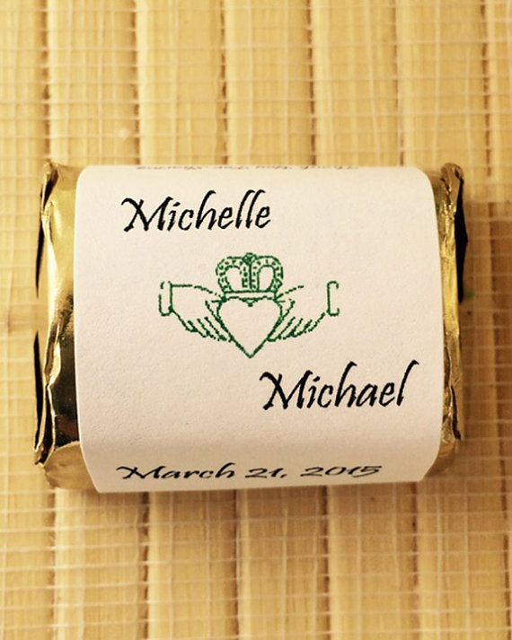 Irish Wedding Candy Wrers Gift Claddagh Favors Personalized Bar