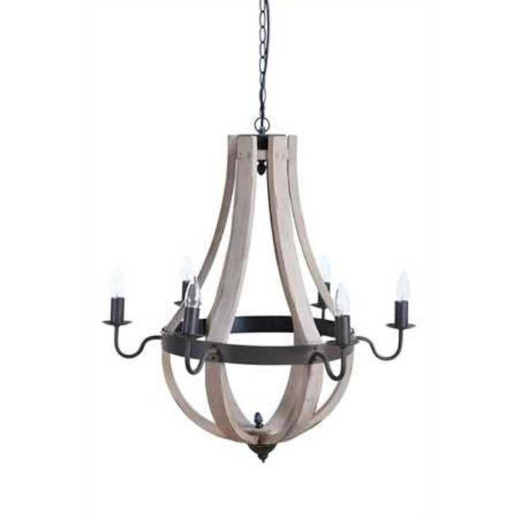 "Dimensions: 27"" Round x 27""H Oh we love the wine barrel feel of this 6-light chandelier! We always believe in mixing elements, and this is a great combo of metal and wood. *25 Watt Bulb Maximum, UL Li"